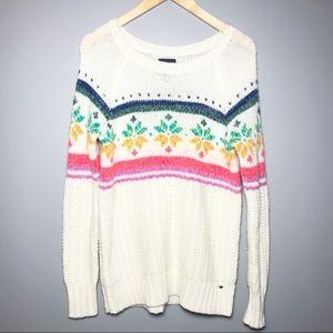 American Eagle Oversized Rainbow Snowflake Sweater